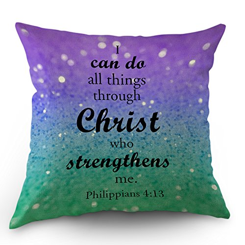 Quotes Pillow Cases Philippians I Can Do All Things Through Christ Who Strengthens Me Throw Pillow Covers 18 x 18 Inch Cotton Linen Cushion Cover for Men Women Purple Green