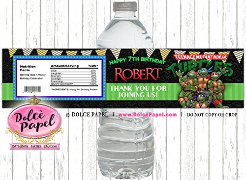 10 NINJA TURTLES Birthday Party Black and Green Custom WATER BOTTLE LABELS Party Favors Any Age -