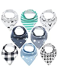KiddyStar Bandana Baby Bib Set, 8-Pack Drool Bibs for Boys and Girls, Baby Shower Gift for Newborns, 100% Organic Cotton, Soft and Absorbent, Stylish and Unisex, For Drooling and Teething BOBEBE Online Baby Store From New York to Miami and Los Angeles