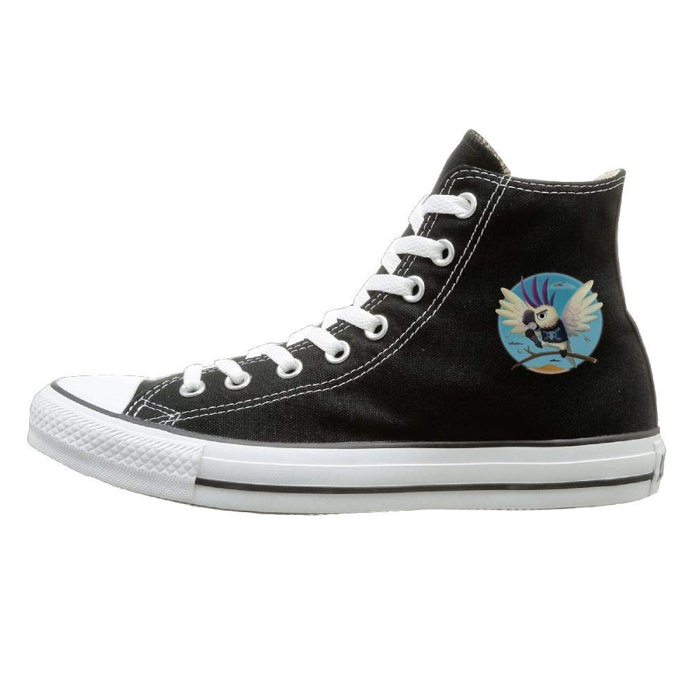 Sakanpo Singing Parrot Canvas Shoes High Top Design Black Sneakers Unisex Style