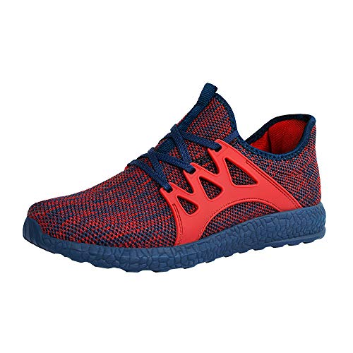 ZOCAVIA Men's Sneakers Ultra Lightweight Breathable Mesh Sport Gym Walking Running Shoes (Red Blue,Size 12.5)