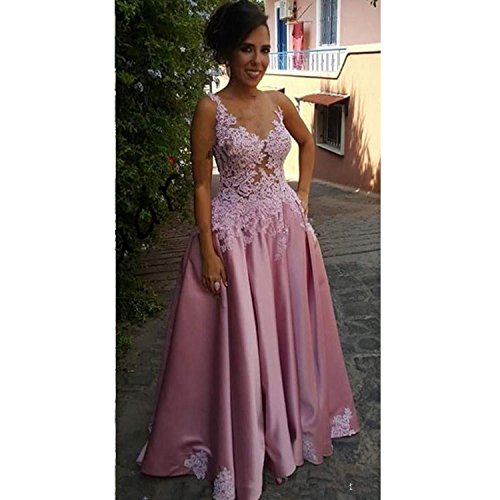 Long Prom Applique V Lace Satin Backless Purple line Sleeveless Women's Dress Neck Gowns Dimei Ball A xqwg0PTRR