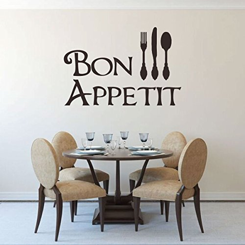 Bon Appetit Wall Decal | Kitchen or Restaurant Saying Vinyl Decor with Fork, Spoon, and Knife Silhouette | Black, Brown, White, Gold, Silver, Gray, Green, Other Colors | Small, Large Sizes