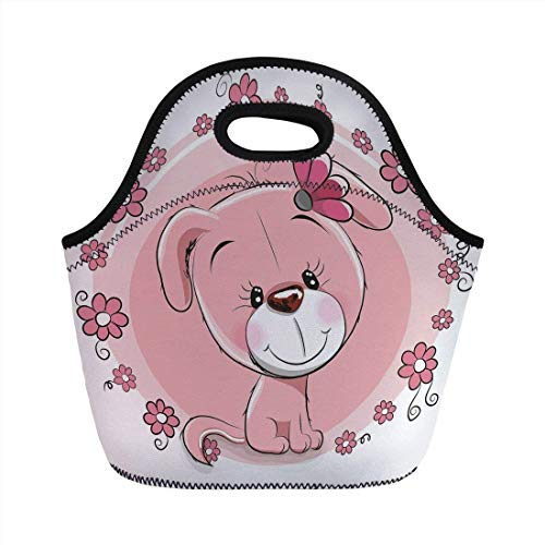 Portable Neoprene Lunch Bag, Dog, Cute Little Puppy with Daisy Flowers Cheerful Adorable Pet Girls Room Decor, Light Pink Coral White, for Kids Adult Thermal Insulated Tote Bags
