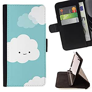 Jordan Colourful Shop - Clouds White Cute Smiley Face Drawing For Apple Iphone 5C - Leather Case Absorci???¡¯???€????€????????&