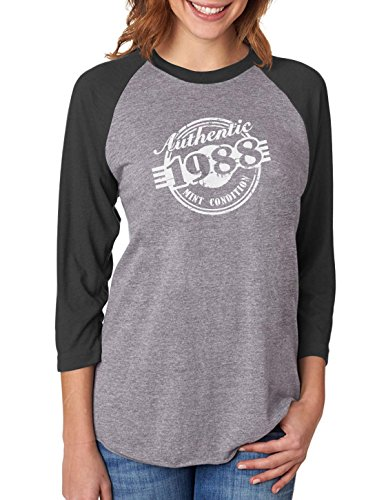 Tstars 30th Birthday Gift 1988 Mint Condition 3/4 Women Sleeve Baseball Jersey Shirt Medium Black/Gray (3/4 Birthday Sleeve)