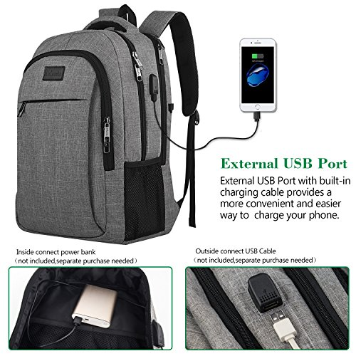 Large Product Image of Travel Laptop Backpack,Business Anti Theft Slim Durable Laptops Backpack with USB Charging Port,Water Resistant College School Computer Bag for Women & Men Fits 15.6 Inch Laptop and Notebook - Grey