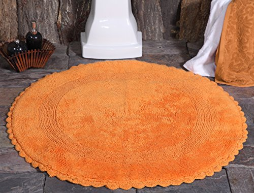Saffron Fabs Bath Rug Cotton 36 Inch Round, Reversible - Different Pattern On Both Sides, Orange, Hand Knitted Crochet Lace Border, Machine ()