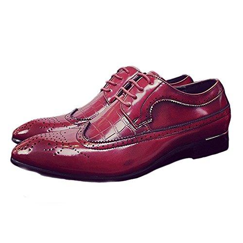 Fang-shoes, 2018 Primavera/Estate, Scarpe Brogue da uomo Classiche Hollow Carving Splice Pelle PU Wingtip Lace Up Fodere in fodera traspirante (Color : Blu, Dimensione : 47 EU) Rosso