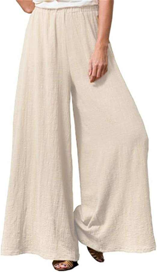 Wide Leg Palazzo Style Trousers Soft Stretchy Pull On Comfy Summer Pants