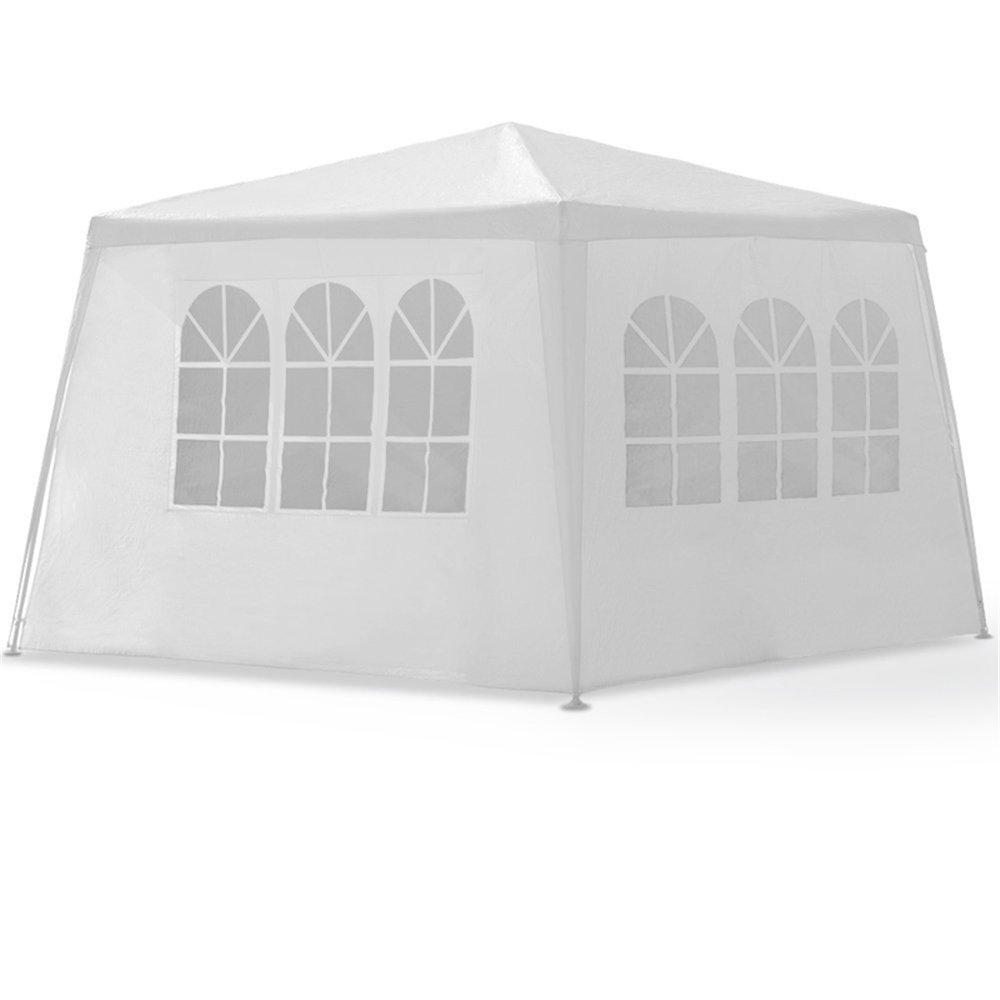 MCTECH® 3 x 4 m Bianco Tenda Esterno Tenda da Giardino Padiglione Tenda Birra Tenda Gazebo Copertura PE Impermeabile con 4 pareti Laterali, 3 finestre, 1 Porte con Cerniera