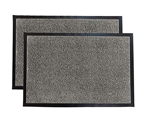 LuxUrux Durable Rubber Door Mat, Heavy Duty Doormat, Indoor Outdoor Rug, Easy Clean, Waterproof, Low-Profile Door Rugs for Entry, Patio, Garage, (17''x 30'' 2 Pack, Black/White)