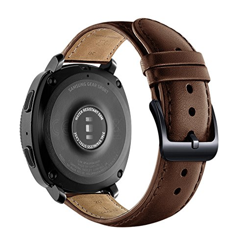Aresh for Samsung Gear Sport Band, 20MM Genuine Leather Bands for Gear Sport Smartwatch SM-R600 /Gear S2 Classic/ Garmin Vivoactive 3 (Brown) Photo #3