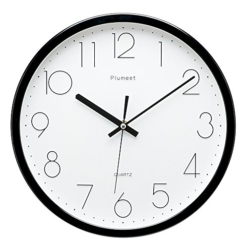 Plumeet Upgrade Version 12-inch Non-Ticking Silent Wall Clock with Modern and Nice Design for Living Room Large Kitchen Wall Clock Battery Operated (Black)