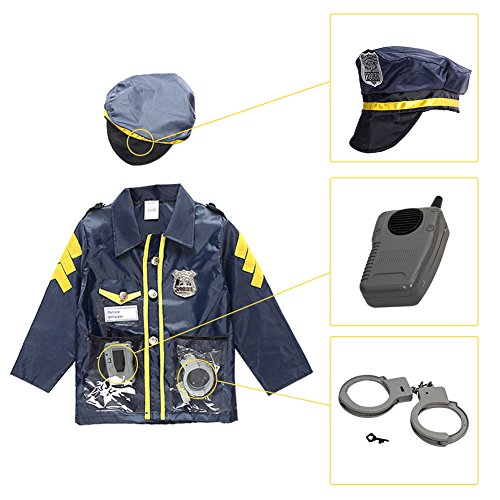 Kids Policeman Cosplay Costume,Police Dress up Costume Halloween Role Play Toy Kit for Boys