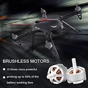 MJX Bugs 3 RC Quadcopter Drone with 2 Batteries, 2 Extra Sets of Propellers, Brushless Drone with GoPro SJ Camera Mount, 18min Flying Time, 300m Long Range Remote Control Wind Resistance Drones Black by Huixinda