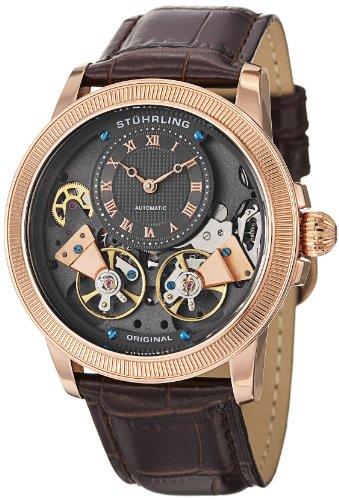 Stuhrling Original Men's 368B.3345K54 Symphony Aristocrat Gemini II Automatic Skeleton Rose Tone Brown Leather Strap Watch