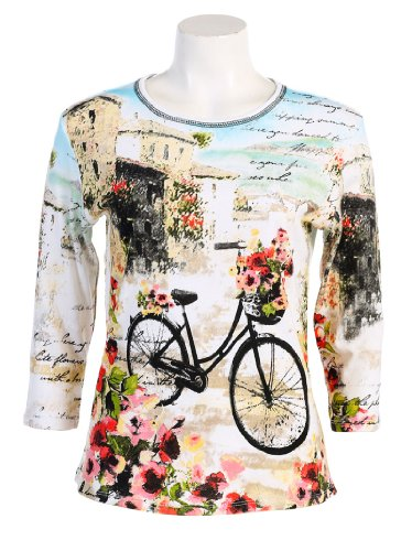 "Jess N Jane ""Floral Bicycle"" Dressy Ladies Rhinestone Cotton T Shirt White-large"