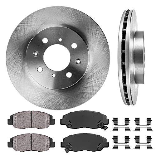 FRONT 262 mm Premium OE 4 Lug [2] Brake Disc Rotors + [4] Ceramic Brake Pads + Clips - Honda Civic 4wd