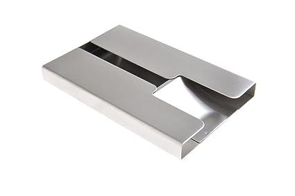 Tarjetero/Estuche para tarjetas de visita, hecho de acero inoxidable, con la superficie delicadamente pulida y mecanismo de extracción, para 19-21 tarjetas, 434 (DE): Amazon.es: Oficina y papelería
