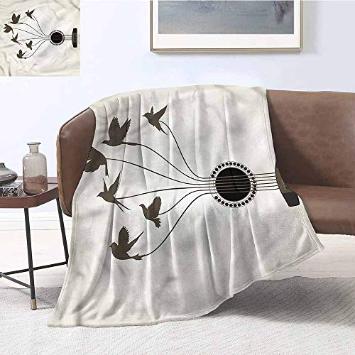 DILITECK Blanket Sheets Music Guitar String Flying Birds All Season for Couch or Bed W54 xL84 Traveling,Hiking,Camping,Full Queen,TV,Cabin