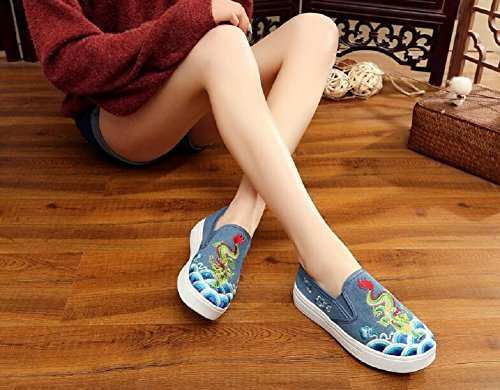 Lazutom Women Embroidery Flats Slip-On Loafer Sneaker Shoes Casual Walking Shoes Blue j9GXGhZWT