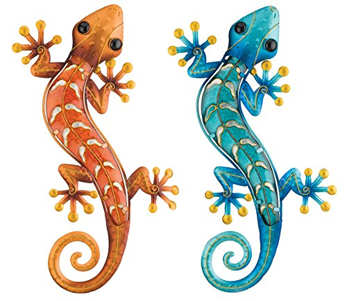 Regal Art & Gift Gecko Decor, 18-Inch Copper and Blue Geckos for Home, Garden, and Wall Decoration by Regal Art & Gift