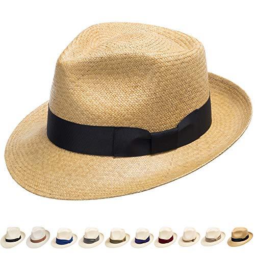 Ultrafino Genuine Havana Classic Panama Straw Dress Hat Comfortable Wheat 7 ()