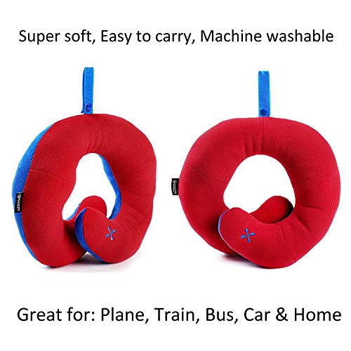 BCOZZY Chin Supporting Travel Pillow - Supports The Head, Neck and Chin in in Any Sitting Position. A Patented Product. (RED, Child) by BCOZZY (Image #4)