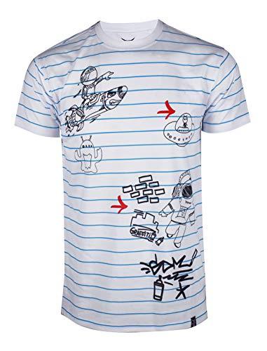 SCREENSHOTBRAND-S11916 Mens Hipster Hip-Hop Premium Tee - Luxury Longline Monoprint Horizontal Stripe Print T-Shirt-White-Small