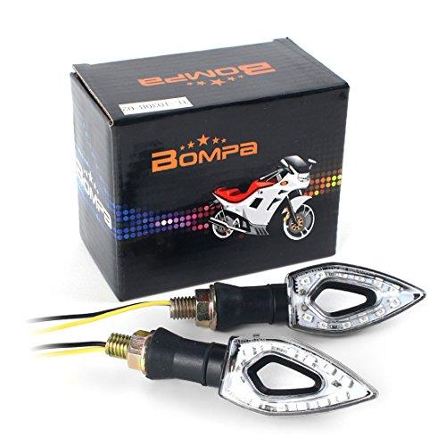 BOMPA 2pc Motorcycle LED Turn Signal Indicator Blinker Light 12V Amber Yellow Lamp Unique Design Universal Turn Signals fit Honda Yamaha Harley Suzuki Kawasaki (Custom Rear Turn Signal Mount)