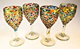 Mexican Glass, Wine, Hand Blown, Pebble Confetti (Set of 4) 12 Oz