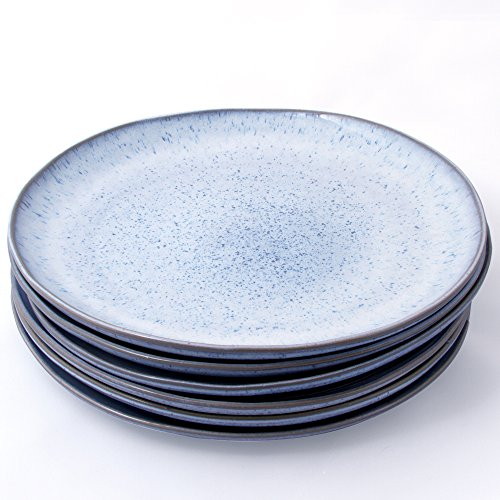 Handmade Ceramic Stoneware 11'' Dinner Plates, Blue Speckled Design (Set of 6) by Trois Voyageurs