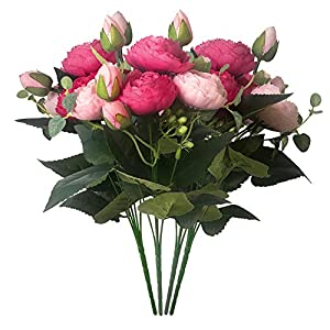 Silk Flower Arrangements Schliersee Artificial Silk Peony Flowers Fake Flowers for Home Wedding Party Festival Decor,Pack of 4 (Dark Pink)