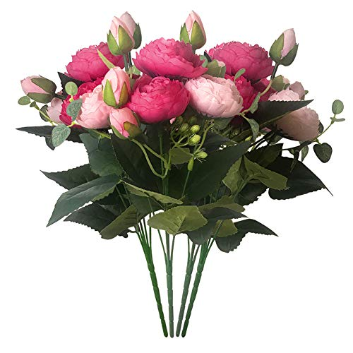 Schliersee Artificial Silk Peony Flowers Fake Flowers for Home Wedding Party Festival Decor,Pack of 4 (Dark Pink) ()