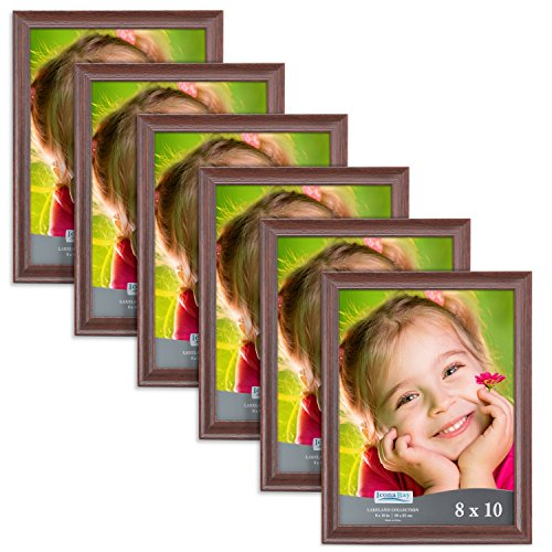 (Icona Bay 8x10 Picture Frame (6 Pack, Teak Wood Finish), Photo Frame 8 x 10, Composite Wood Frame for Walls or Tables, Set of 6 Lakeland Collection)