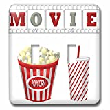 3dRose lsp_222695_2 The Word Movie with Popcorn and Soda Illustration In Red, White, and Gray - Double Toggle Switch