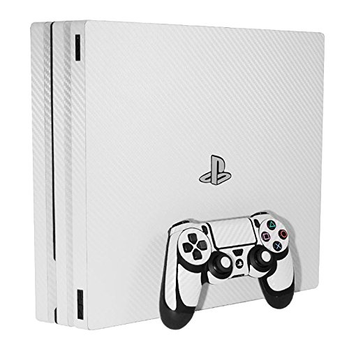 Sony PlayStation 4 Pro Skin (PS4-Pro) - NEW - 3D CARBON FIBER WHITE - Air Release vinyl decal console mod kit by System Skins