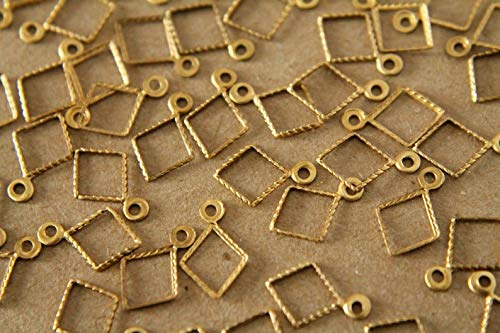 16 pc. Small Raw Brass Diamond Outline Charms: 11mm by 8mm