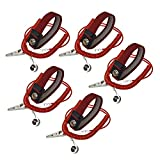 Calunce Claret Red Antistatic ESD Adjustable Wrist Strap with 2.10M PU Adjustable Grounding Wire and Alligator Clip (5pcs)