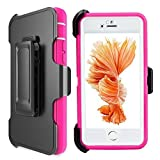 iPhone 6s Plus Defender Case: LongRise Robost 4-Layer Heavy Duty with Built-in Screen Protector Defender Case for iPhone 6 6S Plus 5.5 inch (Pink)