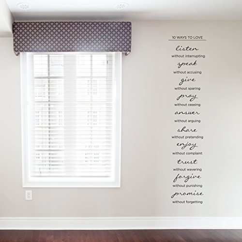 Wallums 10 Ways to Love Wall Decal Quote 16'' x 72'' Matte Black Vinyl by Wallums
