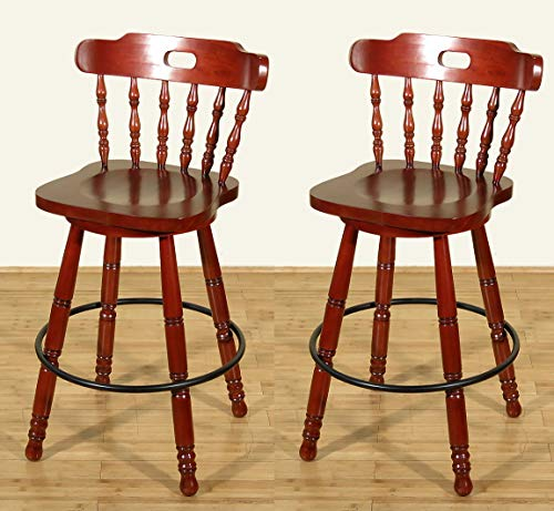 Pair of 2 Cherry Spindle Back Swivel Bar Stools (Spindle Back Cherry)