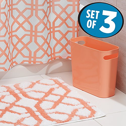 MDesign Fretwork Fabric Shower Curtain, Microfiber Bathroom Accent Rug,  Wastebasket Trash Can   Set Of 3, Coral/White