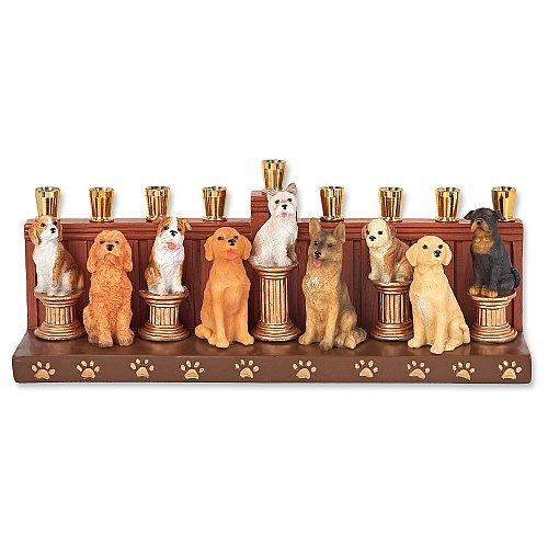 Menorah Ceramic Dog Design Hanukkah Menora