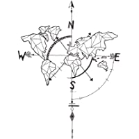 decalmile Negro Mapa del Mundo Pegatinas de Pared Brújula Náutica Vinilo Decorativos Adhesivos Desmontable Mural Oficina…
