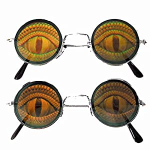 Round Lizard EYE Reptile Hide Your Poker Eyes Hologram 3d Sunglasses