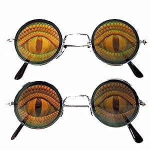 Round Lizard EYE Reptile Hide Your Poker Eyes Hologram 3d Sunglasses