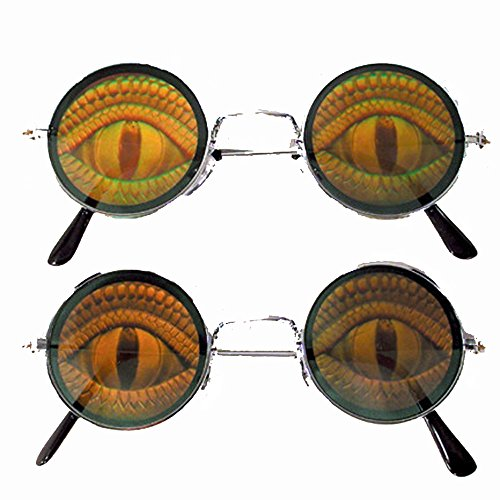 Round Lizard EYE Reptile Hide Your Poker Eyes Hologram 3d - Hologram Sunglasses