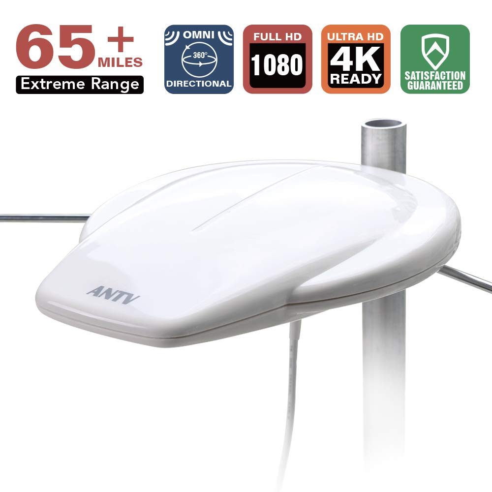 Outdoor HDTV Antenna, 360° Omni-Directional Digital Amplified TV Antenna with VHF Enhanced and High Gain Amplifier Booster, 65 Miles Range for Outdoor/RV/Marine Use